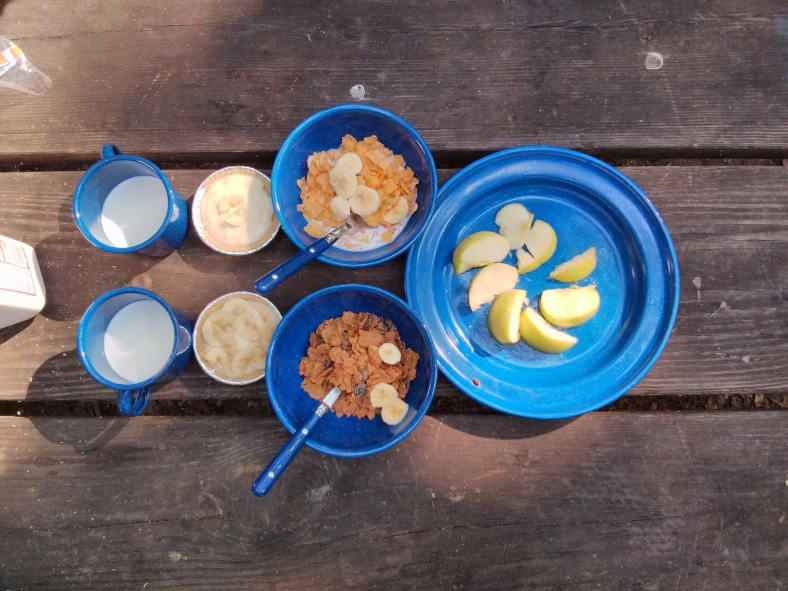 Breakfast for two: milk, banana cream pie, cereal and fruit