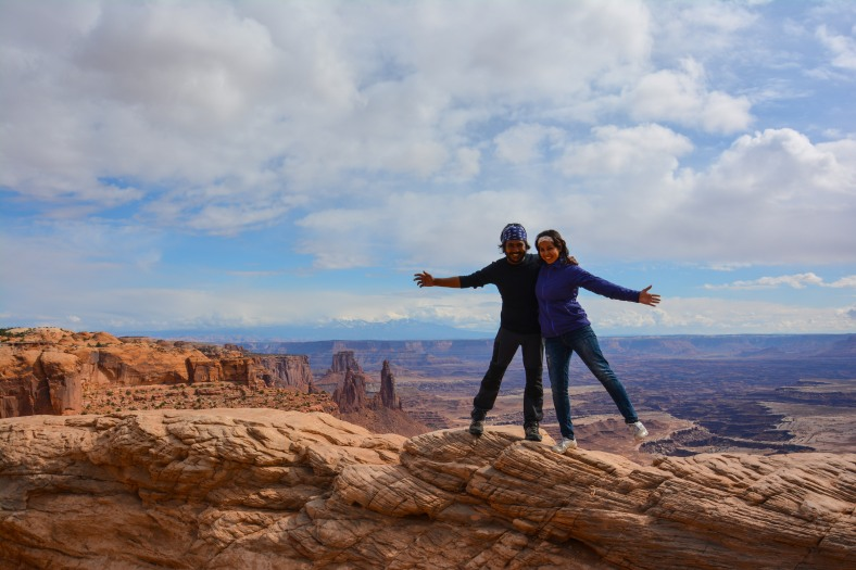 Being silly at Mesa Arch, Canyonlands
