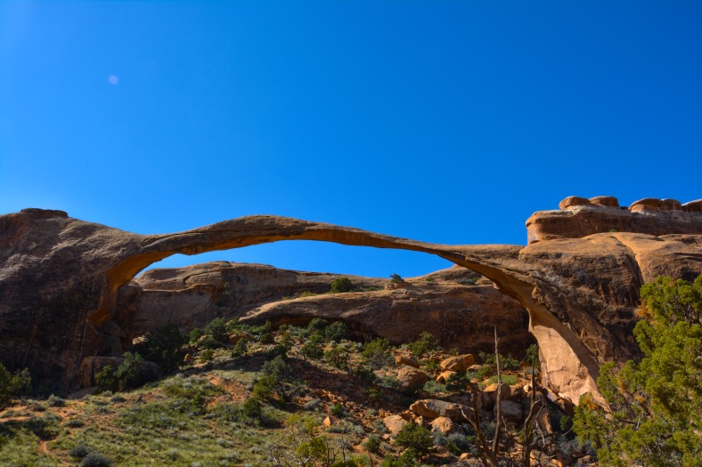 Landscape Arch in Arches National Park - the longest arch in the planet