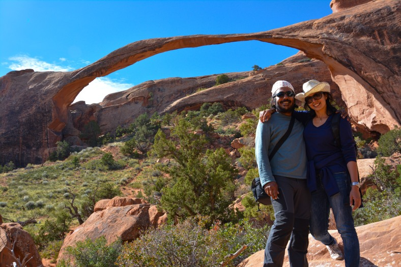 At the trailhead of Devil's Garden, with Landscape Arch as witness