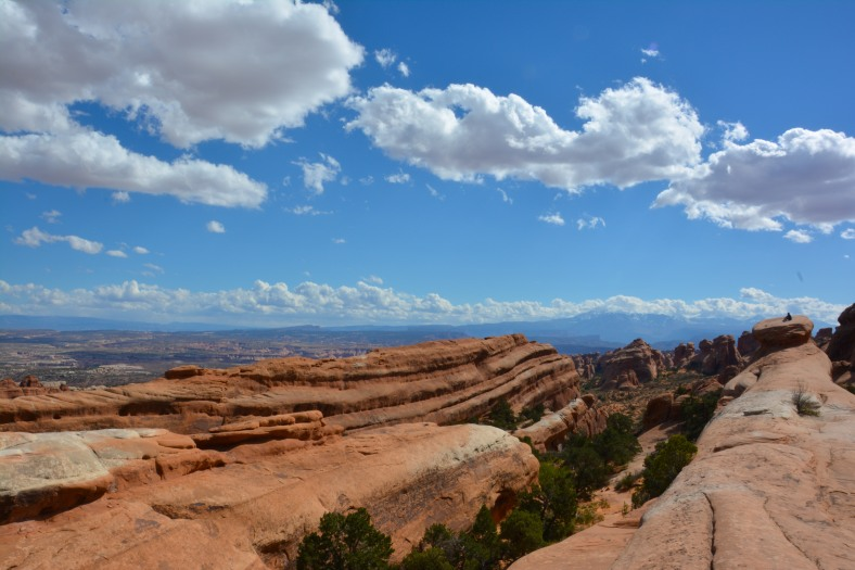 A panoramic view at the top of the rocks in Arches