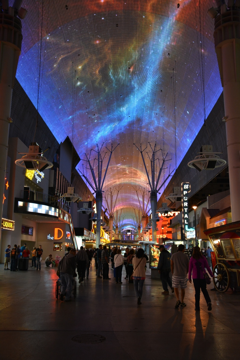 Massive ceiling screen with a musical light show playing all the time
